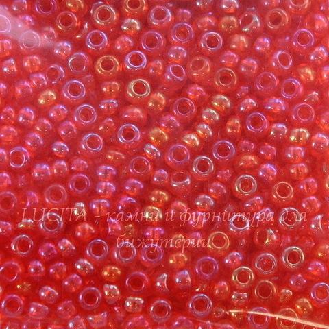 91050 Бисер 10/0 Preciosa прозрачный радужный розово-красный