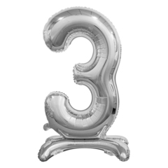 Цифра 3 Серебряная на подставке