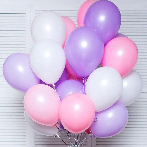 Воздушные шары с гелием Сиренево-розово-белые