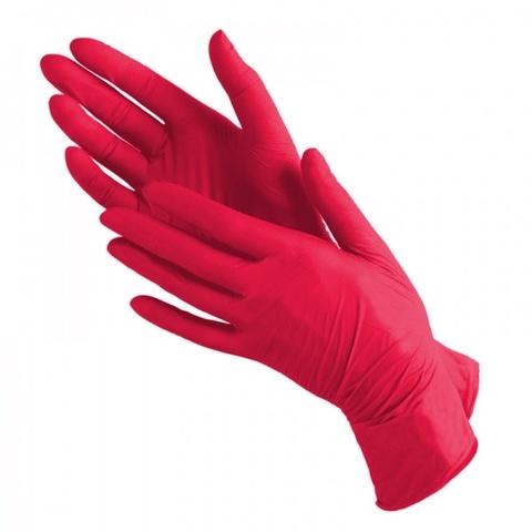 Перчатки косметические нитриловые Красные р. S (100 штук - 50 пар)