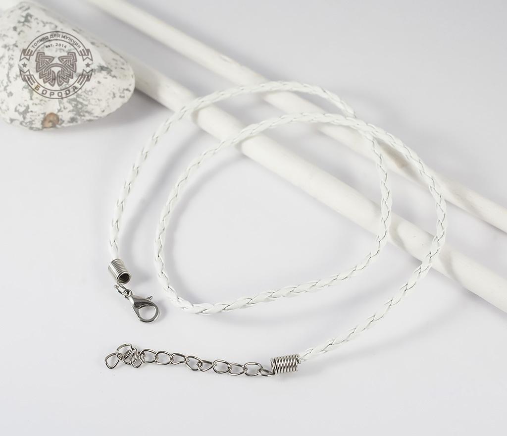 PL261-3 Кожаный шнур с застежкой белого цвета (45 см) фото 02