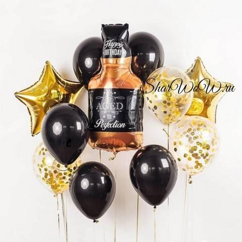 Сет воздушных шаров мужской праздник с бутылкой виски