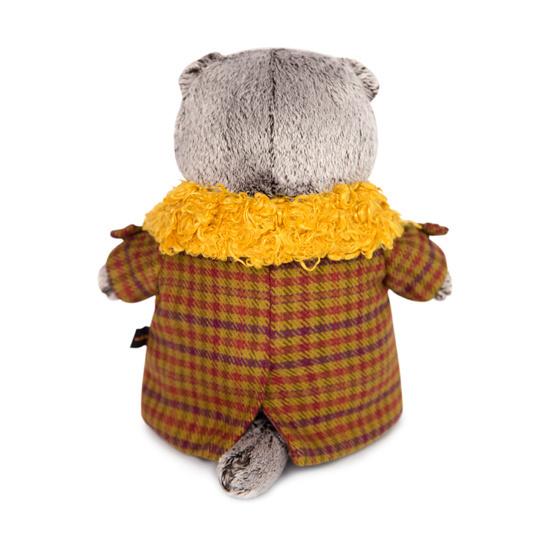 Кот Басик в пальто с желтым меховым воротником