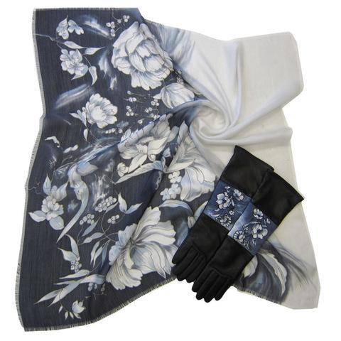 Комплект батик Черно-белые цветы