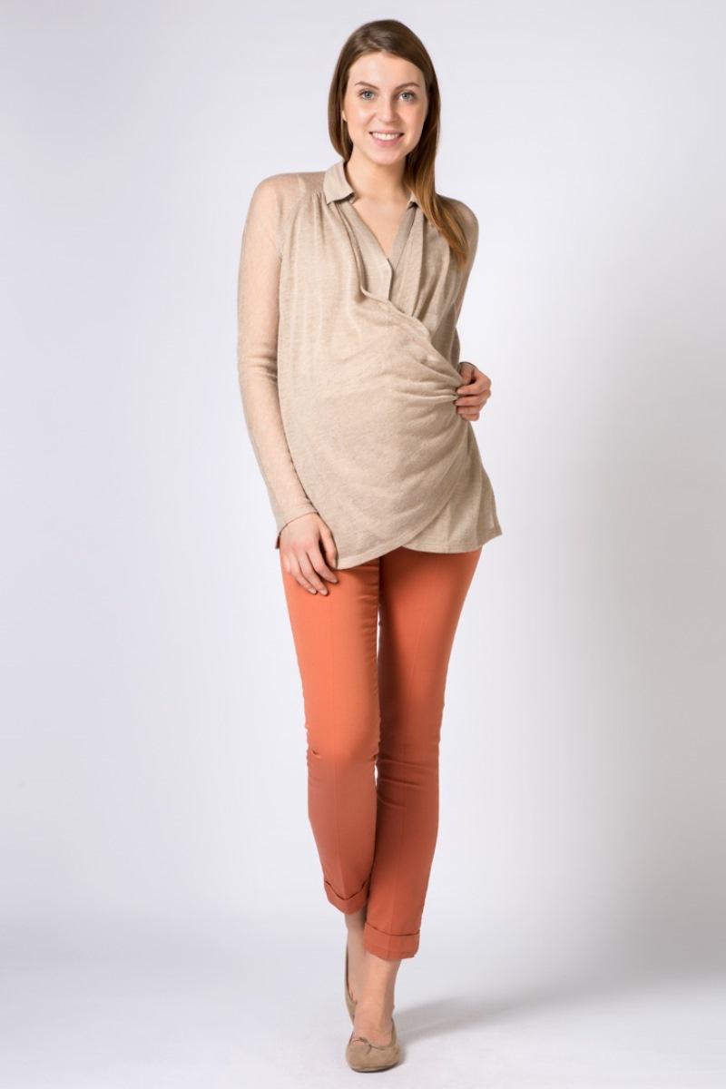 Блузка для беременных 01529 бежевый