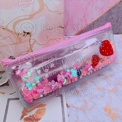 Пенал переливашка на молнии внутри с жидкостью и блёстками Розовый рисунок Клубника школьный для девочки