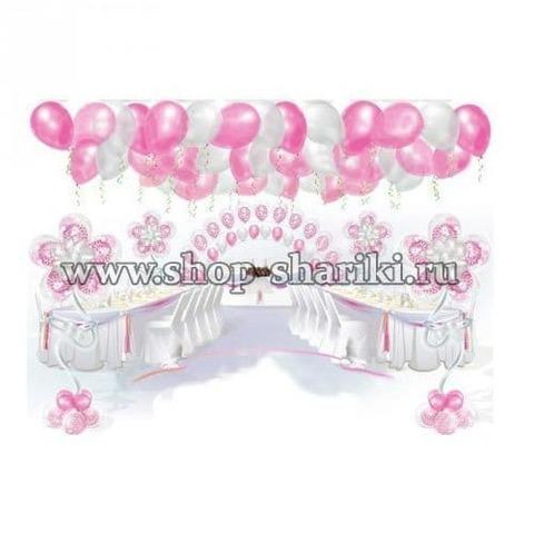 оформление свадьбы бело-розовыми шарами