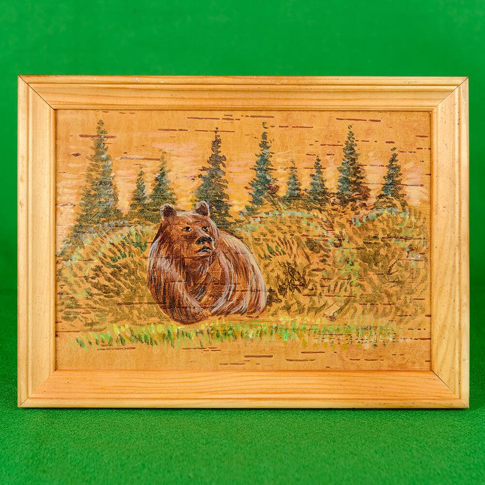 Картина на бересте Медведь