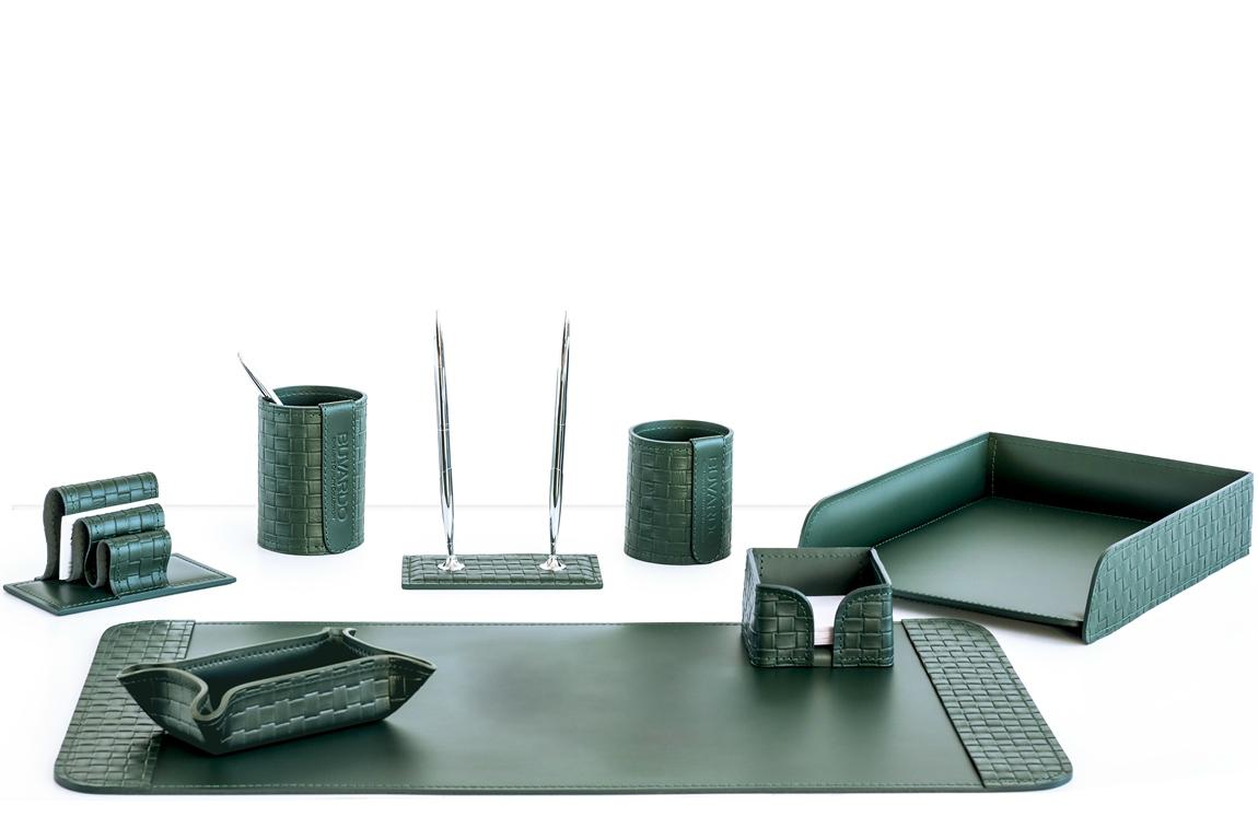 Органайзер офисный 8 предметов из кожи Treccia цвет зеленый