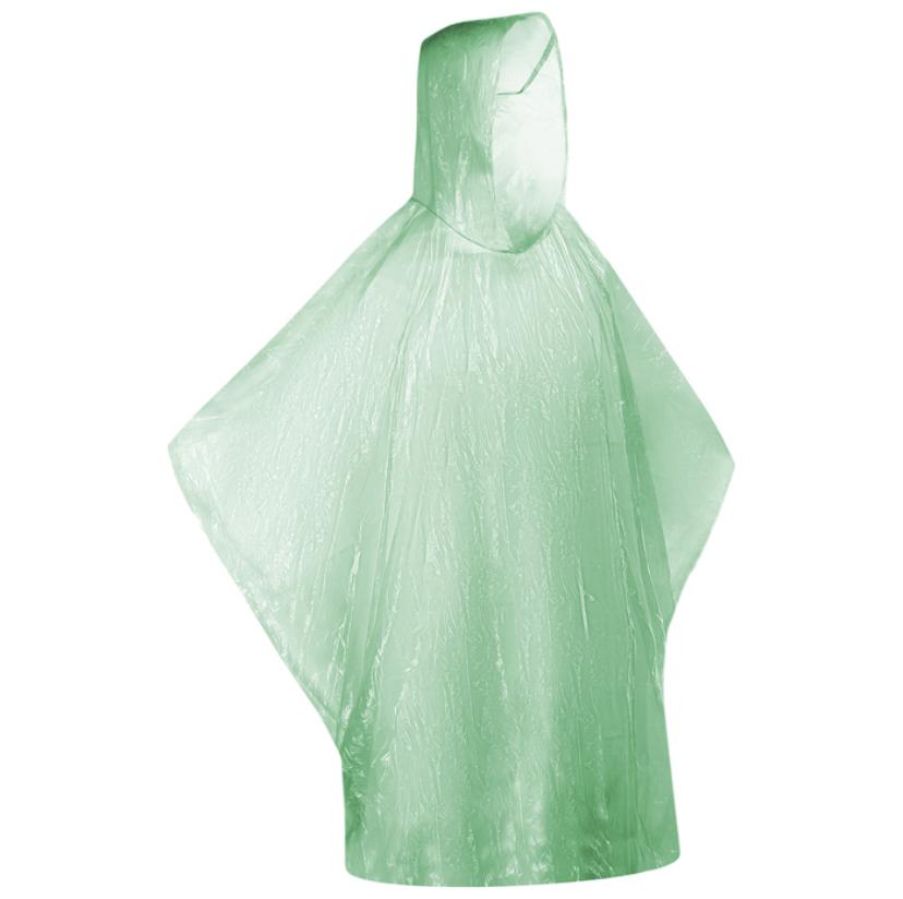 Дождевик пончо зелёный в пластиковом футляре-шаре с карабином фото
