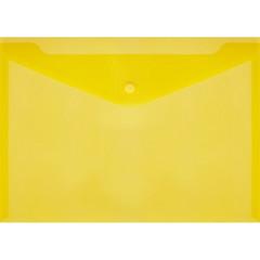 Папка-конверт на кнопке А4 желтая 0.18 мм (10 штук в упаковке)