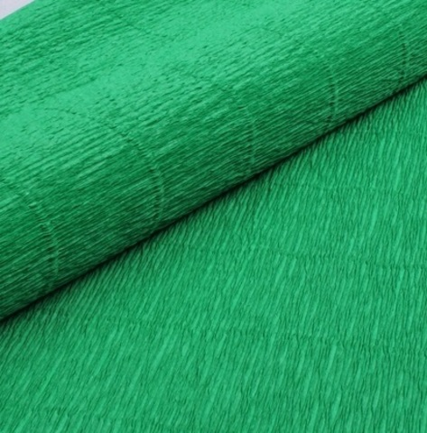 Бумага гофрированная, цвет 563 зеленый, 180г, 50х250 см, Cartotecnica Rossi (Италия)