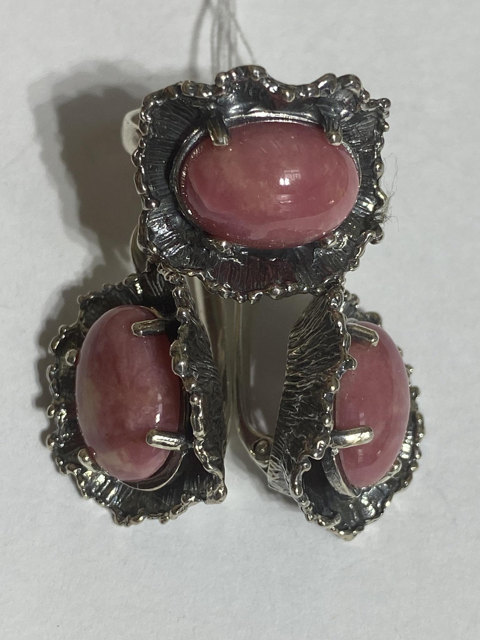 Венга-родонит (кольцо + серьги из серебра)