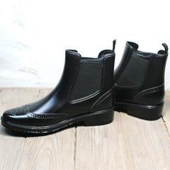 Красивые резиновые ботинки женские W9072Black