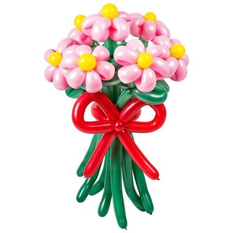 Ромашки из шаров розовые