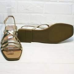Золотые сандалии босоножки на тонкой подошве Wollen M.20237D ZS Gold.