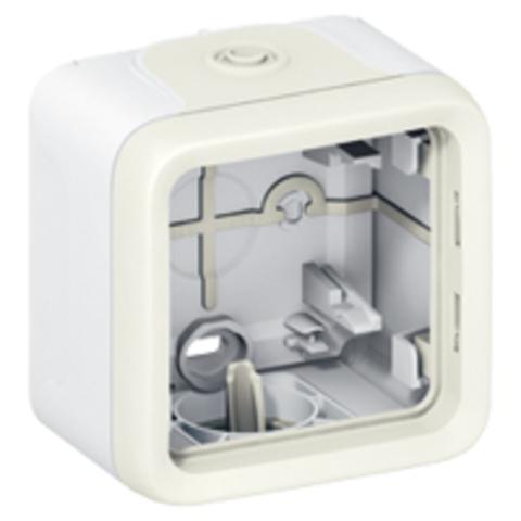 Рамка на 1 пост. Коробка для накладного монтажа c мембранными сальниками. Цвет Белый. Legrand Plexo (Легранд Плексо). 069689