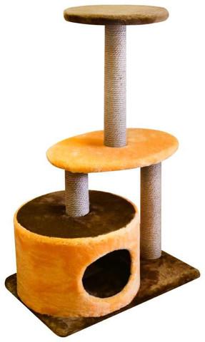 ZooExpress комплекс Цилиндр 3 когтеточки 2 полки мех однотонный джут 40*60*98 см