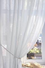 Льняная вуаль - широкая, цвет лазурный