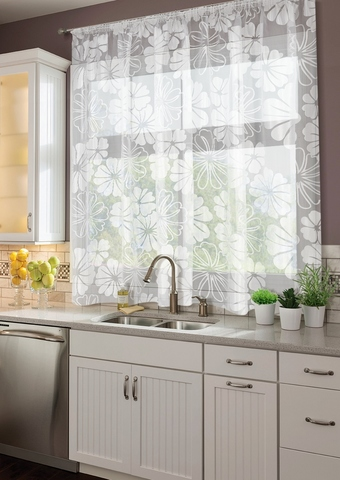 Готовая штора для кухни органза деворе Герберы белый