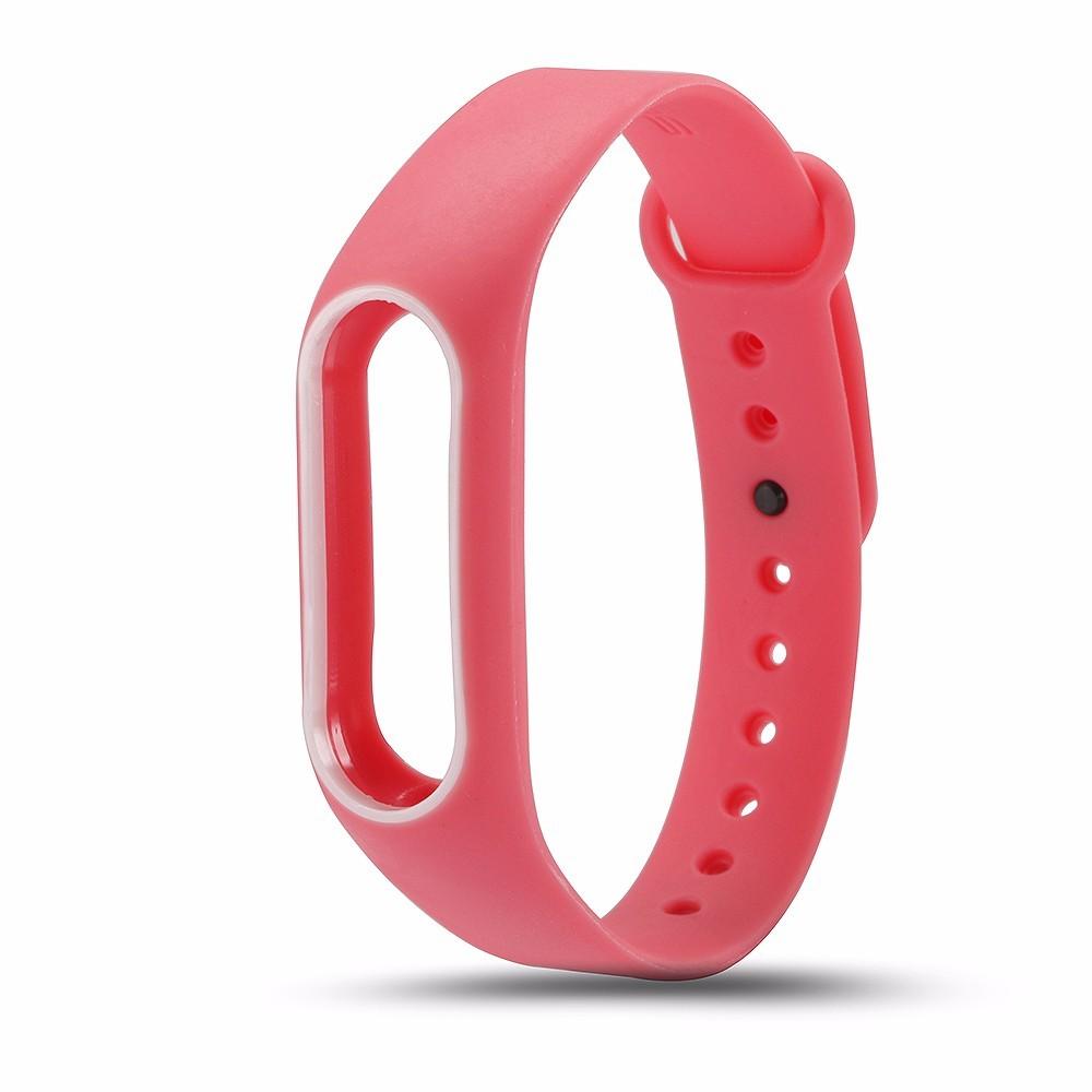 Силиконовый ремешок для Xiaomi Mi Band 2 (розовый с белым)