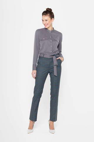 Фото серые клетчатые зауженные брюки на молнии с боковыми карманами - Брюки А493-568 (1)