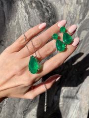 Cерьги из серебра с зеленым, каплевидным кварцем