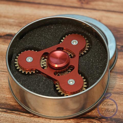 Спиннер металлический трехлучевой с шестеренками на концах красного цвета 17019M_red