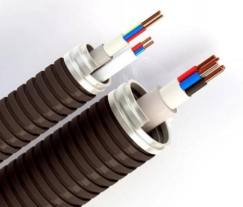 Прокладка кабеля до 10 мм2  в металлорукаве