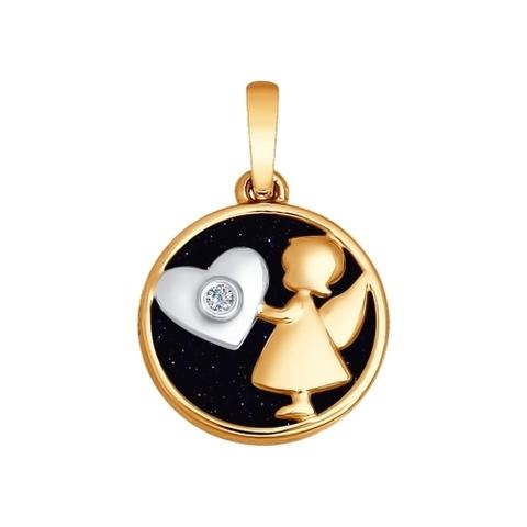 1030537- Подвеска «Ангел» из золота с синим авантюрином и бриллиантом
