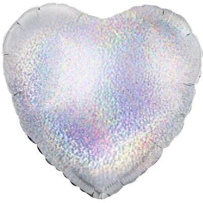 Шар Сердце Серебро голография 46 смс