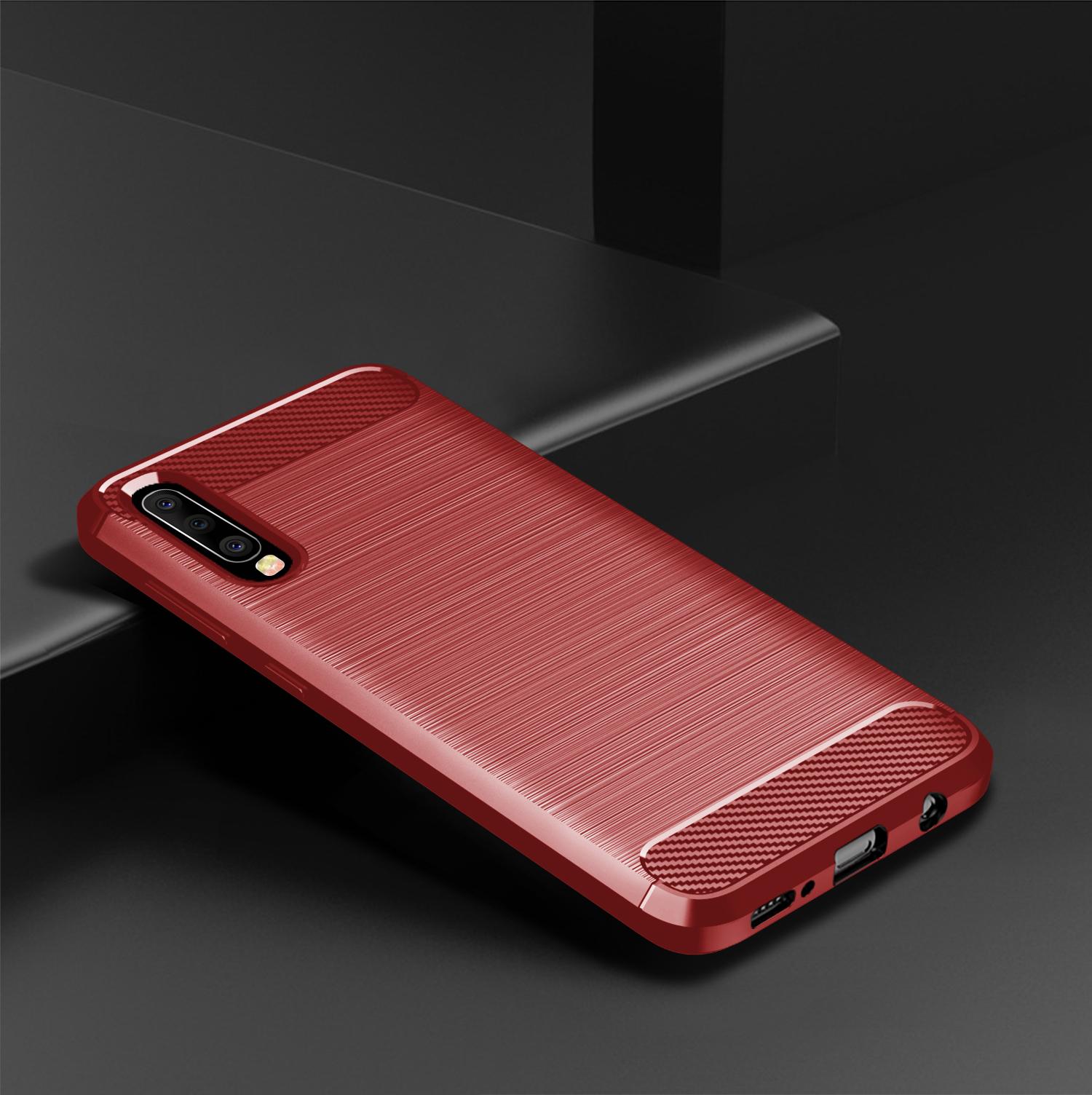 Чехол Samsung Galaxy A50 (Galaxy A30S, A50S) цвет Red (красный), серия Carbon, Caseport