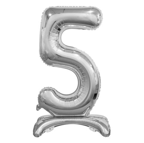 Цифра 5 Серебряная на подставке