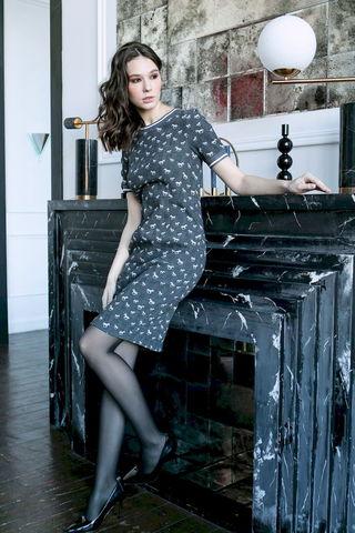 Фото платье с короткими рукавами и принтом с лошадками - Платье З488-151 (1)