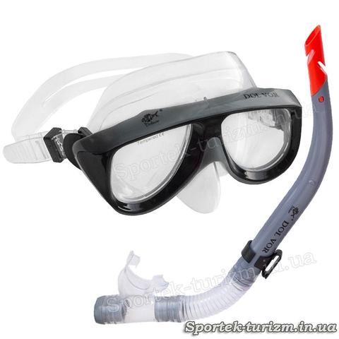 Комплект маска+трубка Dolvor Diver M213-1P+SN52P для подводного плавания
