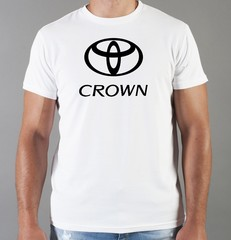Футболка с принтом Тойота Crown (Toyota) белая 06
