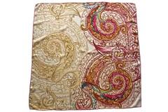 Итальянский платок из шелка коричневый с орнаментом 5728