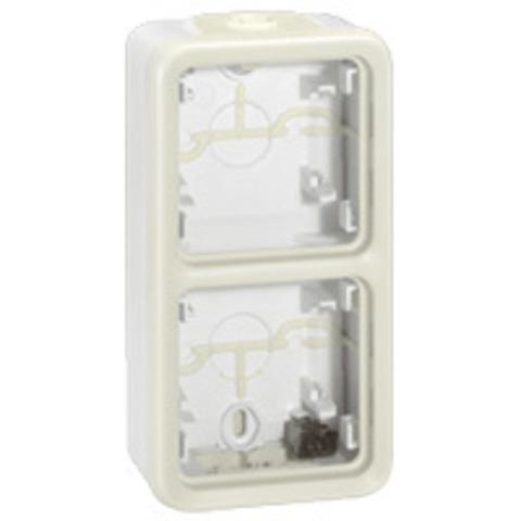 Рамка на 2 поста вертикальная. Коробка для накладного монтажа c мембранными сальниками. Цвет Белый. Legrand Plexo (Легранд Плексо). 069691