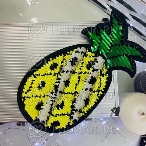 Термоаппликация двусторонняя Ананас с пайетками цвет: Жёлтый-Белый (21х12 см)