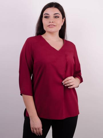 Леона. Оригинальная блуза size plus. Бордо.