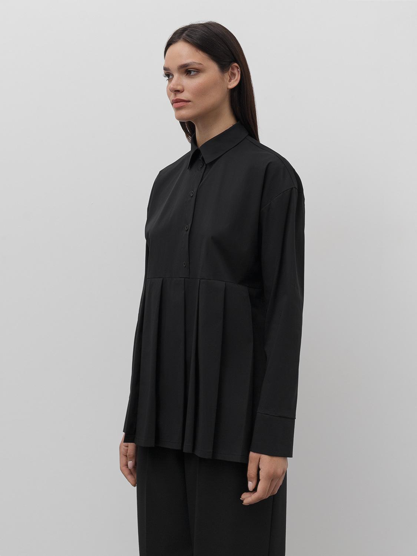 Рубашка Heather со складками, Черный