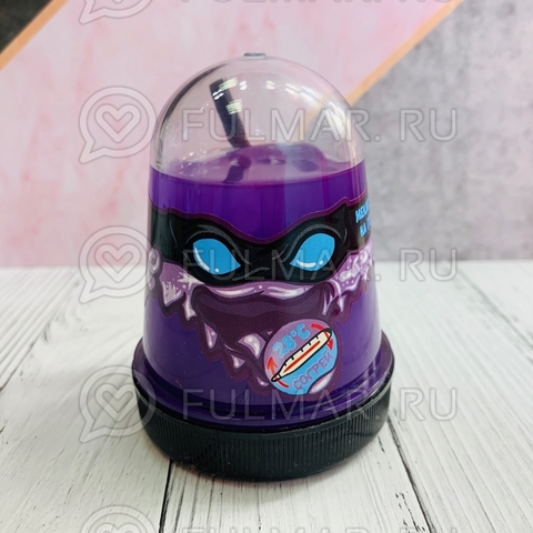 Термо слайм-лизун Slime Ninja  Фиолетовый меняет цвет на Голубой, надувающийся с трубочкой