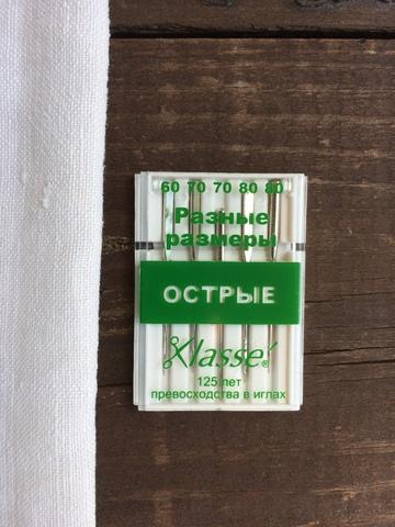 Иглы для бытовых швейных машин Острые микротекс, №60, 70, 80 Hemline Klasse