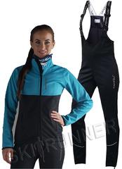 Женский утеплённый лыжный костюм Nordski Premium Breeze-Black с высокой спинкой