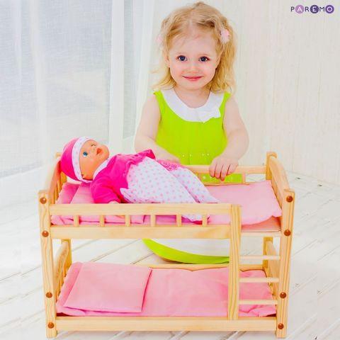 Двухъярусная кукольная кроватка из дерева, розовый текстиль