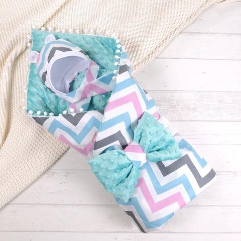СуперМамкет. Конверт-одеяло с бантом и шапочкой Зигзаг, голубой/розовый/бирюзовый