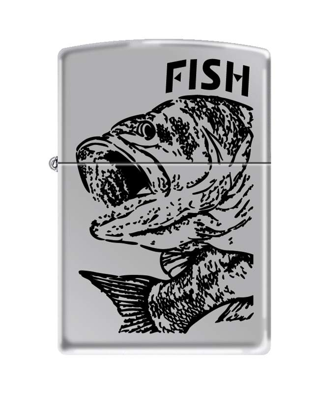 Зажигалка ZIPPO Classic High Polish  Chrome™  Изображение чёрного окуня  ZP-250 FISH - BIG MOUTH