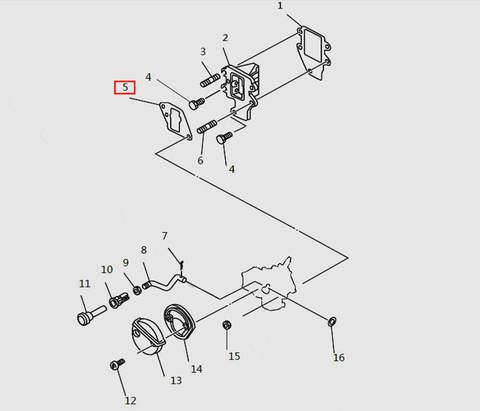 Прокладка клапанной площадки внеш. для лодочного мотора T9.8 Sea-PRO (4-5)