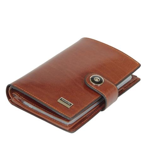Стильное мужское рыже-коричневое портмоне книжка 14х10 см с отделением для авто документов и паспорта из натуральной высококачественной итальянской кожи Dublecity 027-DC9-08B в подарочной коробке