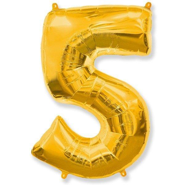 Фольгированная цифра 5, золото